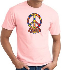 Image of Funky 70s Peace World Peace Sign Symbol Adult T-shirt - Pink