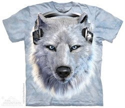 Image of Funny White Wolf Shirt Tie Dye Adult T-Shirt Tee