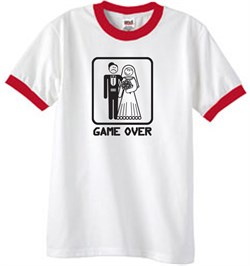 Image of Game Over Ringer T-shirt Funny White/Red Tee - Black Print
