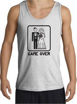 Image of Game Over Tanktop Funny Marriage Ash Tank Top ? Black Print