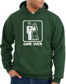 Game Over Hoodie - Funny Marriage Dark Green Hoody - White Print