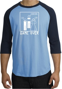 Image of Game Over Marriage Ceremony Raglan Carolina Blue/Navy - White Print