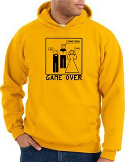 Image of Game Over Marriage Ceremony Hoodie Funny Gold Hoody - Black Print