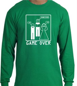 Image of Game Over Marriage Ceremony Long Sleeve Kelly Green Shirt White Print