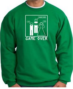 Image of Game Over Marriage Ceremony Sweatshirt Funny Kelly Green - White Print