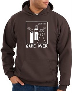 Image of Game Over Marriage Ceremony Hoodie Funny Brown Hoody - White Print