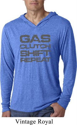 Image of Gas Clutch Shift Repeat Grey Print Lightweight Hoodie Shirt