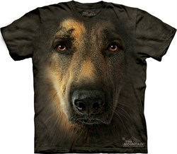 Image of German Shepherd Shirt Tie Dye Portrait Face T-shirt Adult Tee