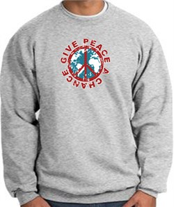 Image of Peace Sign Sweatshirt - Give Peace A Chance - Athletic Heather