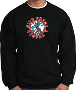 Image of Peace Sign Sweatshirt - Give Peace A Chance - Black