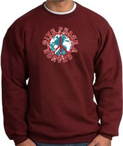 Image of Peace Sign Sweatshirt - Give Peace A Chance - Maroon