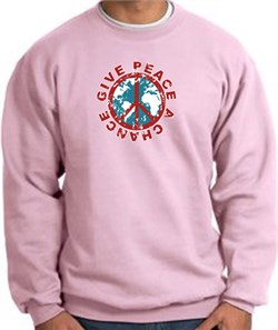 Image of Peace Sign Sweatshirt - Give Peace A Chance - Pink