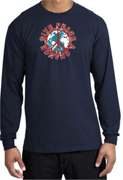 Image of Peace Sign Long Sleeve T-shirt - Give Peace A Chance World Navy Shirt