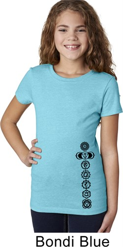 Image of Girls Yoga Shirt Black 7 Chakras Bottom Print Tee T-Shirt