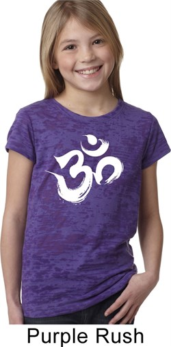 Image of Girls Yoga Shirt Brushstroke Aum Burnout Tee T-Shirt