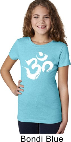 Image of Girls Yoga Shirt Brushstroke Aum Tee T-Shirt