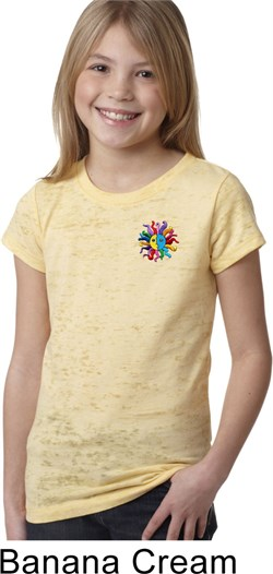Image of Girls Yoga Shirt Hippie Sun Patch Pocket Print Burnout Tee T-Shirt