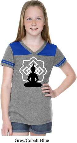 Image of Girls Yoga Tee Buddha Lotus Pose Football Shirt