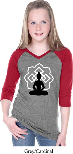 Image of Girls Yoga Tee Buddha Lotus Pose V-neck Raglan
