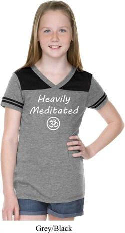 Image of Girls Yoga Tee Heavily Meditated with OM Football Shirt