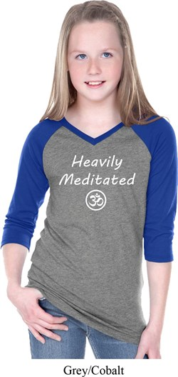 Image of Girls Yoga Tee Heavily Meditated with OM V-neck Raglan