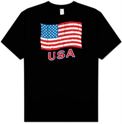 Image of American Flag T-shirt - God Bless America Patriotic Adult Tee