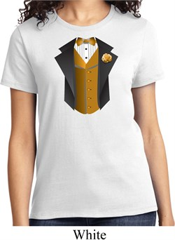 Gold Vest Tuxedo Ladies Shirt