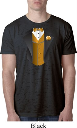 Image of Gold Vest Tuxedo Mens Burnout Shirt
