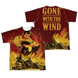 Image of Gone With The Wind Fire Poster Sublimation Kids Shirt Front/Back Print