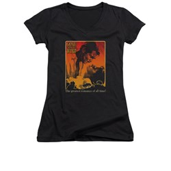 Gone With The Wind Shirt Juniors V Neck Greatest Romance Black Tee T-Shirt