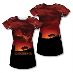 Gone With The Wind Sunset Sublimation Juniors Shirt Front/Back Print
