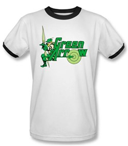 Green Arrow Ringer T-shirt - Green Arrow Adult White/Black Tee