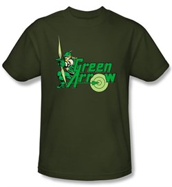 Green Arrow T-shirt - Green Arrow DC Comics Adult Military Green Tee