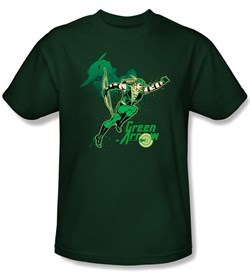 Green Arrow T-shirt - In Action Adult Hunter Green Tee
