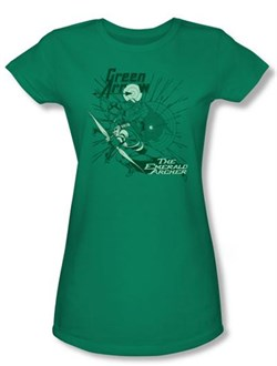 Green Arrow Juniors T-shirt - The Emerald Archer Kelly Green Tee