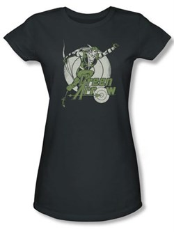 Green Arrow Juniors T-shirt - Right On Target DC Comics Charcoal Tee
