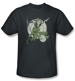Green Arrow T-shirt - Right On Target DC Comics Adult Charcoal Tee
