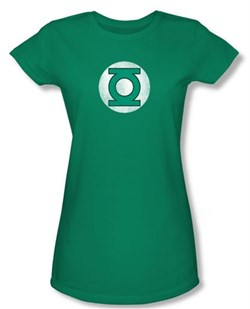Green Lantern Juniors T-shirt Distressed Logo Girly Tee Kelly Green