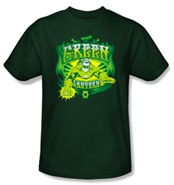 Image of Green Lantern Kids T-shirt Green Flames Youth Hunter Green Tee