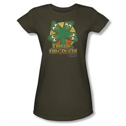 Image of Gumby Shirt Juniors Kiss Me Olive Green T-Shirt
