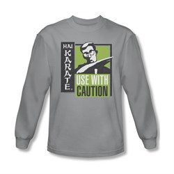 Hai Karate Shirt Caution Long Sleeve Silver Tee T-Shirt