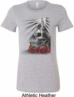 Image of Halloween Day of the Dead Candle Skull Ladies Longer Length Shirt