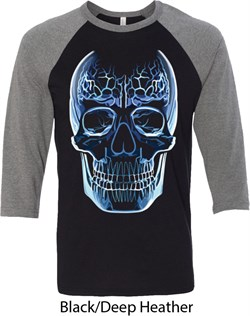 Halloween Glass Skull Mens Raglan Shirt
