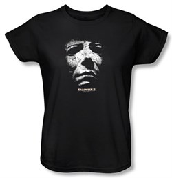 Image of Halloween II Ladies T-shirt Movie Michael Myers Black Tee Shirt