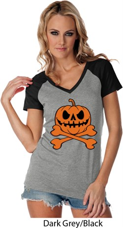 Image of Halloween Pumpkin Skeleton Ladies Contrast V-Neck Shirt