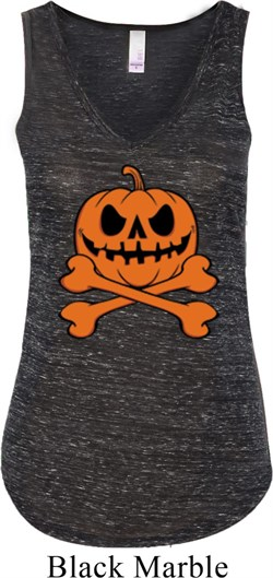 Image of Halloween Pumpkin Skeleton Ladies Flowy V-neck Tanktop