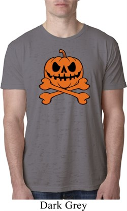 Image of Halloween Pumpkin Skeleton Mens Burnout Shirt