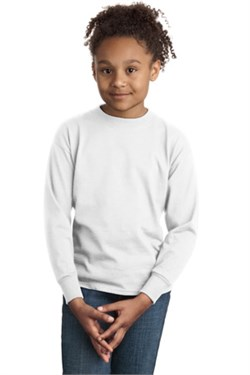 Image of Hanes Youth Long Sleeve Shirt Tagless 100% Cotton Tee T-Shirt