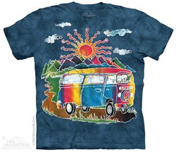 Image of Hippie Tour Bus Shirt Tie Dye Adult T-Shirt Tee