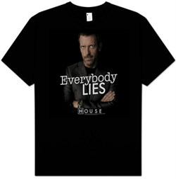 Image of House T-shirt TV Show Kids Size Everybody Lies Youth Black Tee